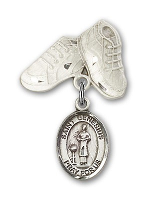 Pin Badge with St. Genesius of Rome Charm and Baby Boots Pin - Silver tone