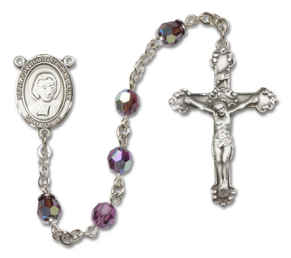 St. John Baptist de la Salle Rosary Heirloom Fancy Crucifix - Amethyst