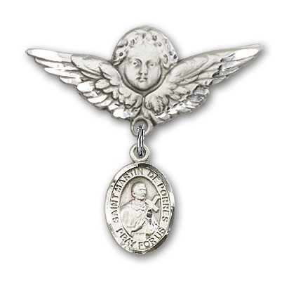 Pin Badge with St. Martin de Porres Charm and Angel with Larger Wings Badge Pin - Silver tone