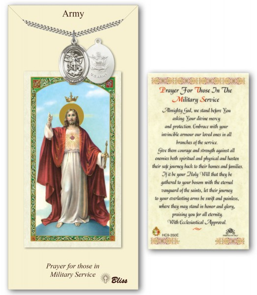 St. Michael the Archangel Army Medal in Pewter with Prayer Card - Silver tone