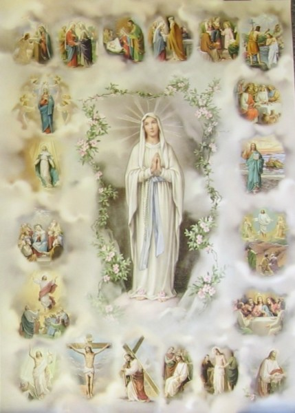 20 Mysteries of the Rosary Large Poster - Full Color