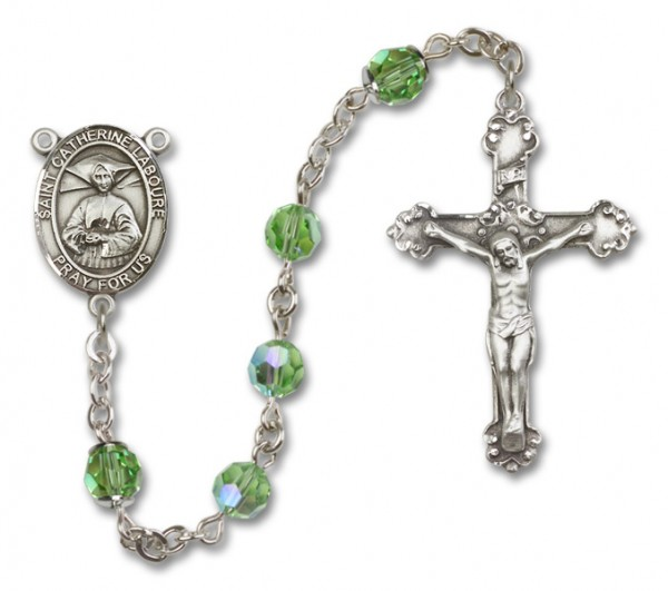 St. Catherine Laboure Sterling Silver Heirloom Rosary Fancy Crucifix - Peridot