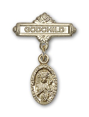 Baby Badge with Our Lady of Czestochowa Charm and Godchild Badge Pin - Gold Tone