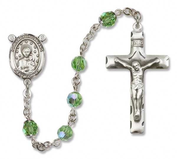 Our Lady of la Vang Rosary Heirloom Squared Crucifix - Peridot