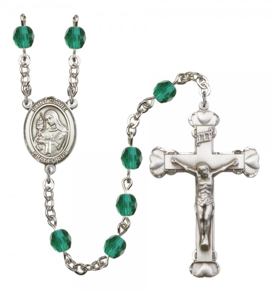 Women's St. Clare of Assisi Birthstone Rosary - Zircon