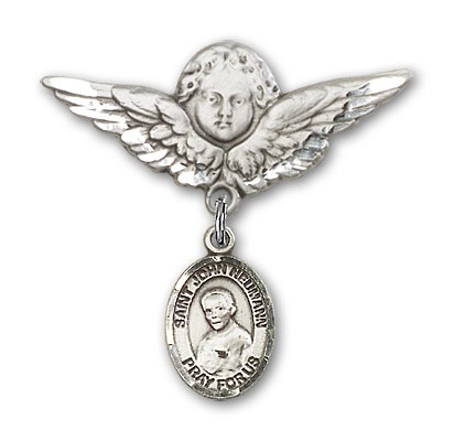 Pin Badge with St. John Neumann Charm and Angel with Larger Wings Badge Pin - Silver tone
