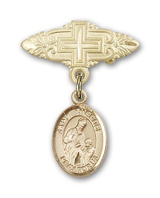 Pin Badge with St. Ambrose Charm and Badge Pin with Cross - 14K Solid Gold