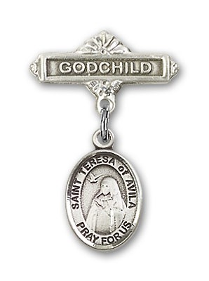 Pin Badge with St. Teresa of Avila Charm and Godchild Badge Pin - Silver tone