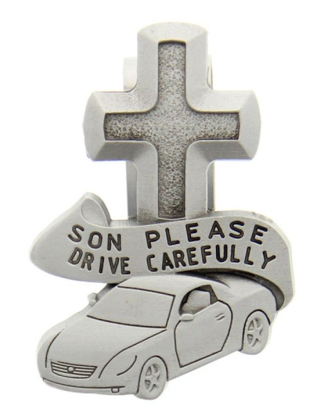 Son Please Drive Carefully Visor Clip - Silver