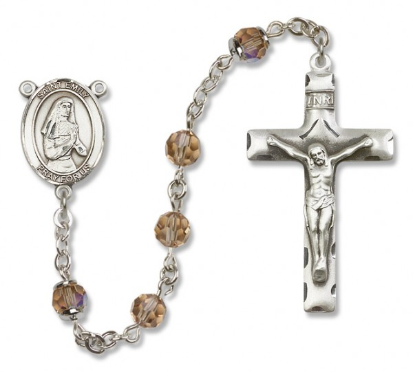 St. Emily de Vialar Sterling Silver Heirloom Rosary Squared Crucifix - Topaz