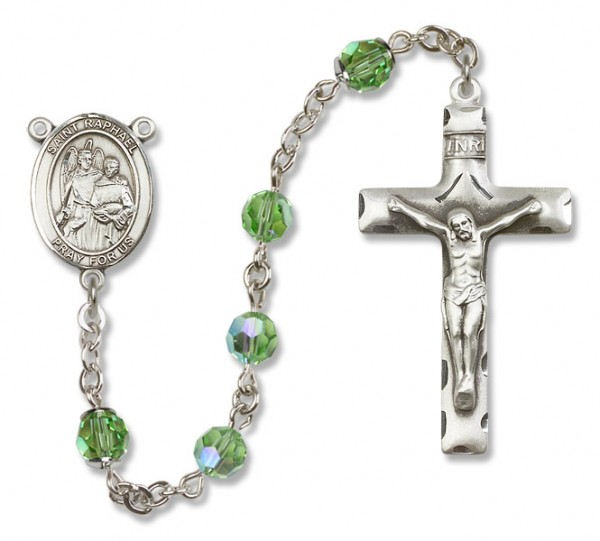 St. Raphael the Archangel Sterling Silver Heirloom Rosary Squared Crucifix - Peridot