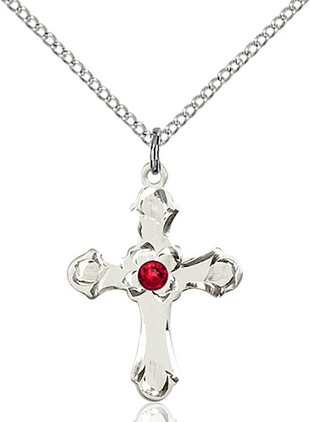 Medium Budded Cross Pendant with Etched Border Birthstone Options - Ruby Red