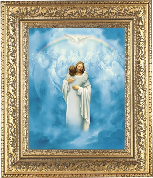Jesus' Embrace at Heaven's Gate Framed Print - #115 Frame