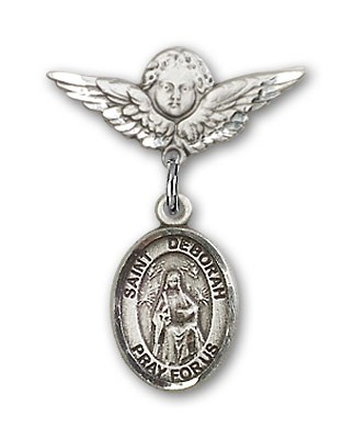 Pin Badge with St. Deborah Charm and Angel with Smaller Wings Badge Pin - Silver tone