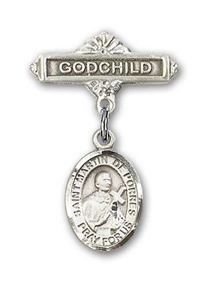 Pin Badge with St. Martin de Porres Charm and Godchild Badge Pin - Silver tone