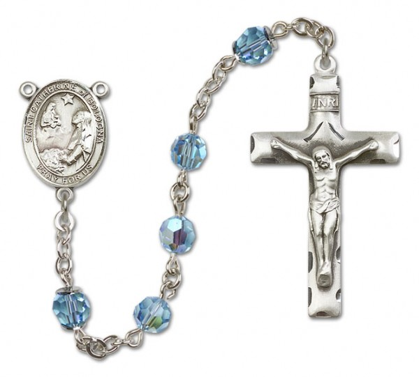 St. Catherine of Bologna Sterling Silver Heirloom Rosary Squared Crucifix - Aqua