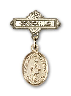 Pin Badge with St. Augustine of Hippo Charm and Godchild Badge Pin - 14K Yellow Gold