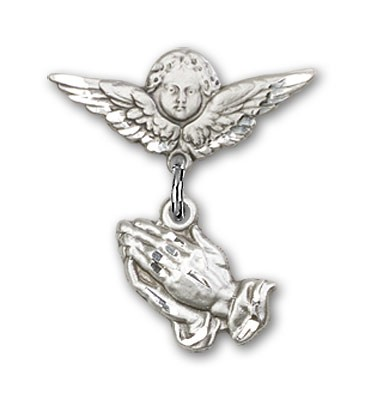Baby Pin with Praying Hands Charm and Angel with Smaller Wings Badge Pin - Silver tone