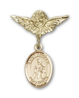 Pin Badge with St. Angela Merici Charm and Angel with Smaller Wings Badge Pin - 14K Yellow Gold