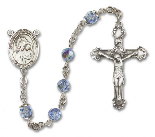 Our Lady of Good Counsel Sterling Silver Heirloom Rosary Fancy Crucifix - Light Sapphire