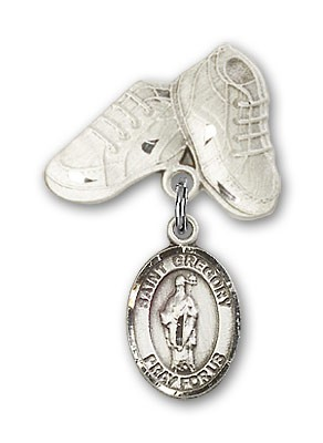 Pin Badge with St. Gregory the Great Charm and Baby Boots Pin - Silver tone