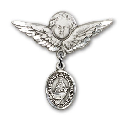 Pin Badge with St. Catherine of Sweden Charm and Angel with Larger Wings Badge Pin - Silver tone