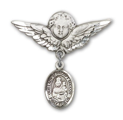 Pin Badge with Our Lady of Prompt Succor Charm and Angel with Larger Wings Badge Pin - Silver tone