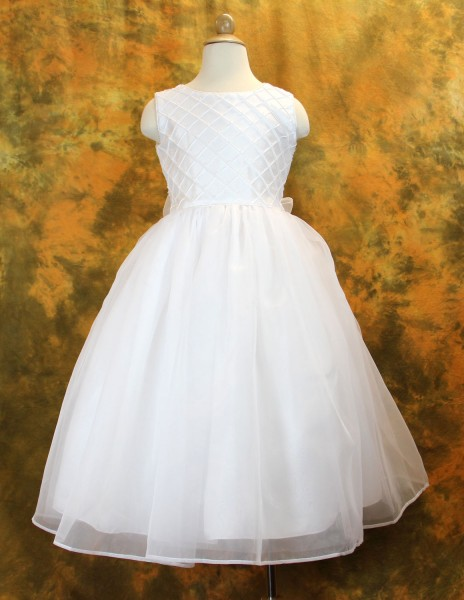 First Communion Dress with Shantung & Organza Pearl Accents - White