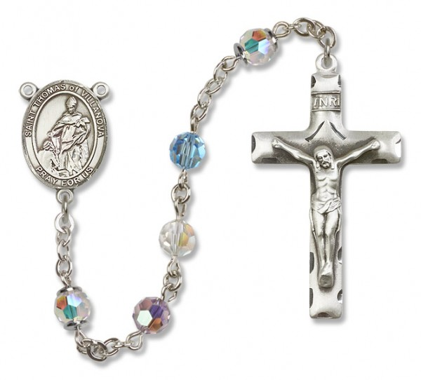 St. Thomas of Villanova Sterling Silver Heirloom Rosary Squared Crucifix - Multi-Color