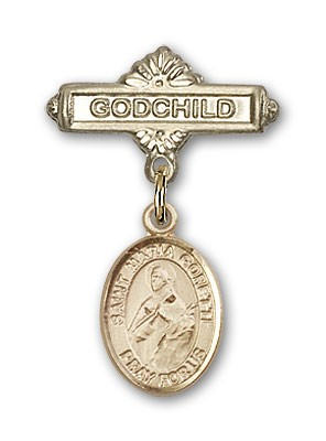 Pin Badge with St. Maria Goretti Charm and Godchild Badge Pin - Gold Tone