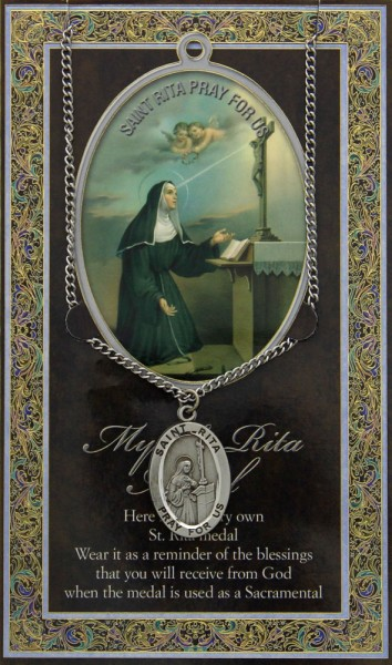 St. Rita Medal in Pewter with Bi-Fold Prayer Card - Silver tone