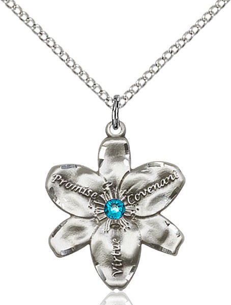 Large Five Petal Chastity Pendant with Birthstone Center - Zircon