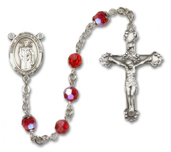 St. Thomas A Becket Rosary Heirloom Fancy Crucifix - Ruby Red