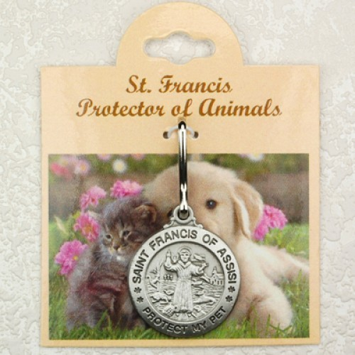 St. Francis Engravable Pewter Pet Medal - Large - Silver
