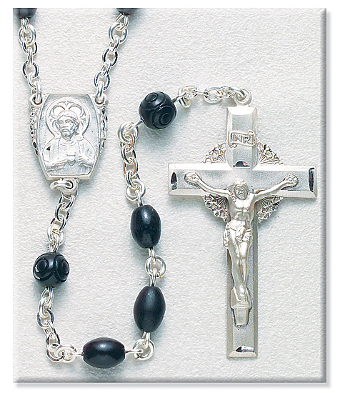 8mm Black Cocoa Bead Rosary in Sterling Silver - Black