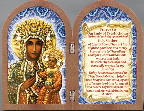 Our Lady of Czestochowa Diptych Standing Prayer Plaque - Full Color
