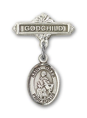 Pin Badge with St. Giles Charm and Godchild Badge Pin - Silver tone