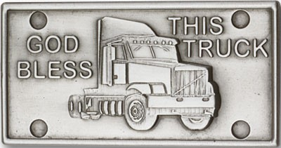God Bless This Truck Visor Clip - Antique Silver