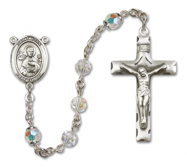St. John the Apostle Sterling Silver Heirloom Rosary Squared Crucifix - Crystal