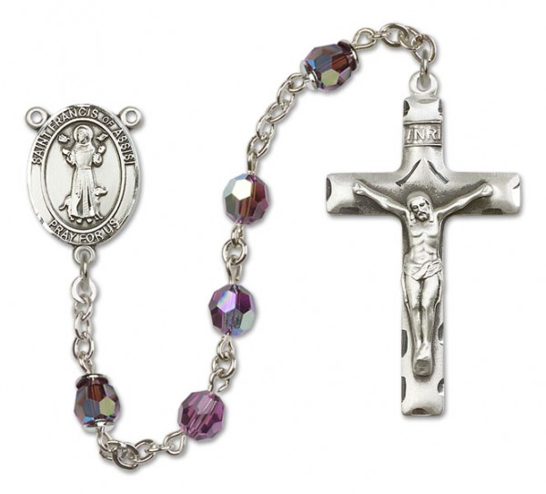 St. Francis of Assisi Sterling Silver Heirloom Rosary Squared Crucifix - Amethyst