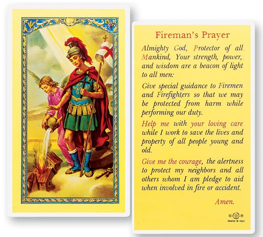 St. Florian Fireman Laminated Prayer Cards 25 Pack - Full Color