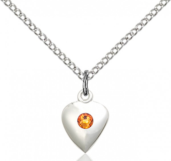 Baby Heart Pendant with Birthstone Options - Topaz