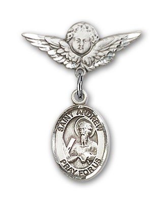 Pin Badge with St. Andrew the Apostle Charm and Angel with Smaller Wings Badge Pin - Silver tone