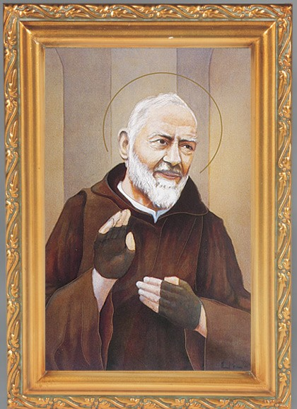 St. Pio Antique Gold Framed Print - Full Color