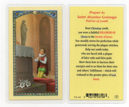 Prayer To St. Aloysius Gonzaga Laminated Prayer Cards 25 Pack - Full Color