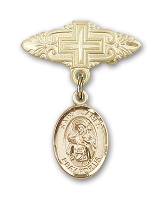 Pin Badge with St. James the Greater Charm and Badge Pin with Cross - 14K Solid Gold