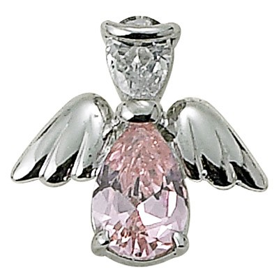 Angel Pin- October Birthstone - Silver