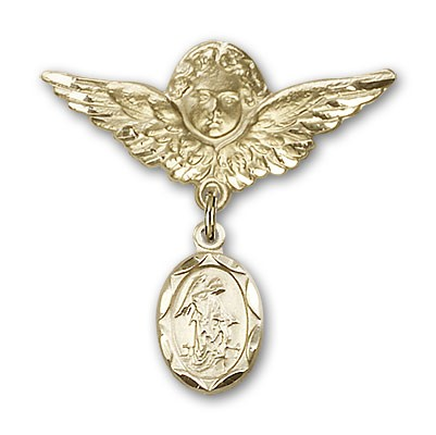Baby Pin with Guardian Angel Charm and Angel with Larger Wings Badge Pin - Gold Tone