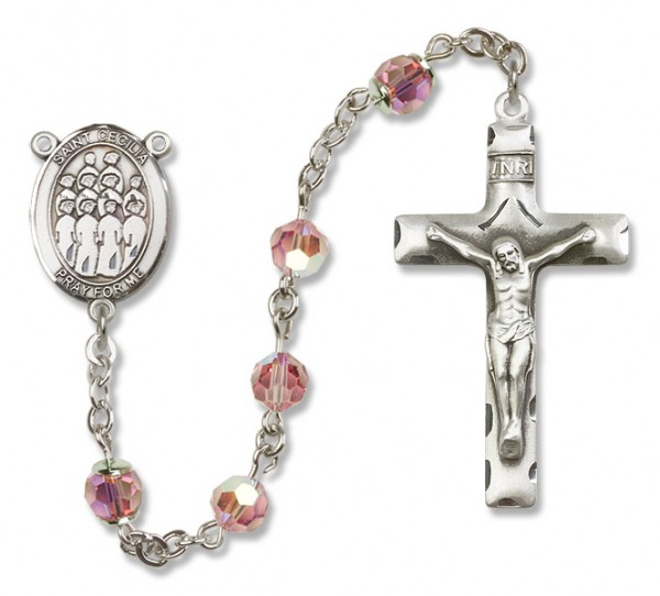 St. Cecilia with Choir Sterling Silver Heirloom Rosary Squared Crucifix - Light Rose