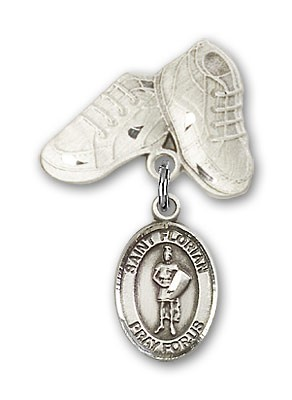 Pin Badge with St. Florian Charm and Baby Boots Pin - Silver tone